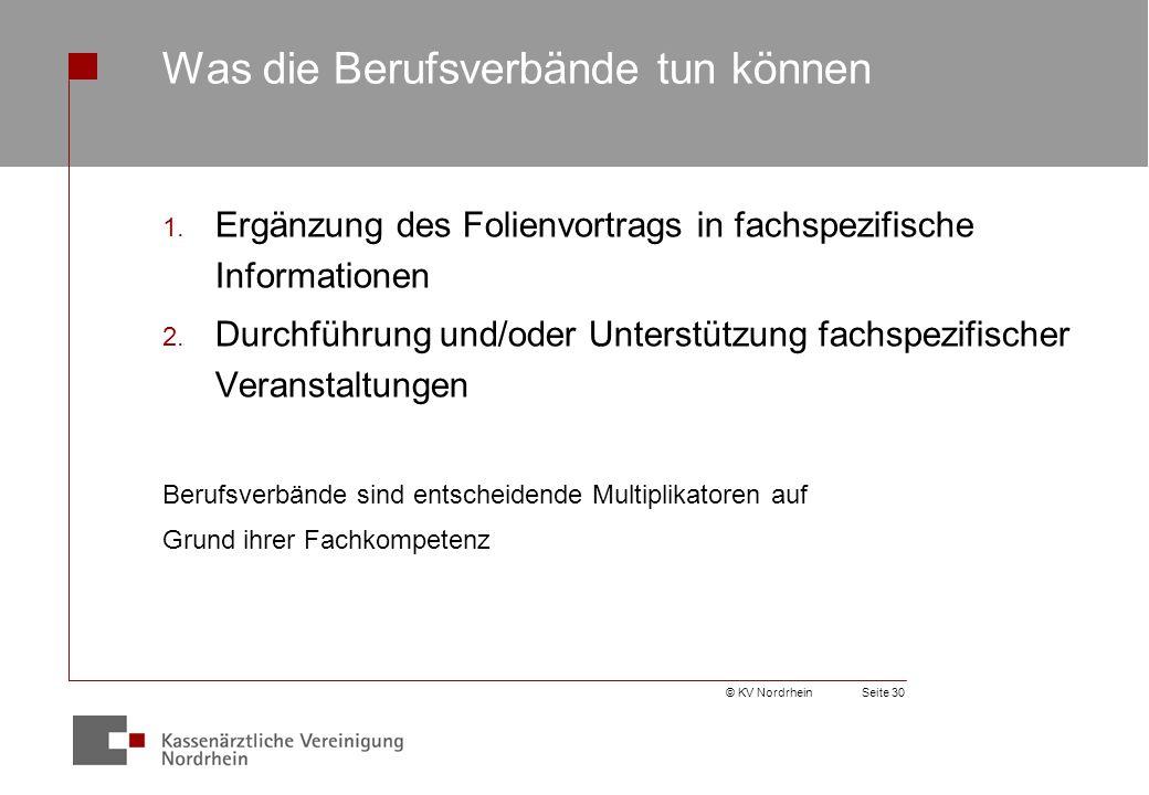 © KV NordrheinSeite 30 Was die Berufsverbände tun können 1.