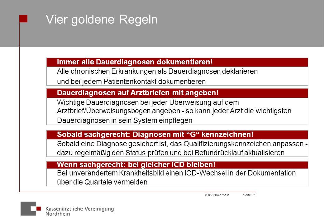 © KV NordrheinSeite 32 Vier goldene Regeln Immer alle Dauerdiagnosen dokumentieren.
