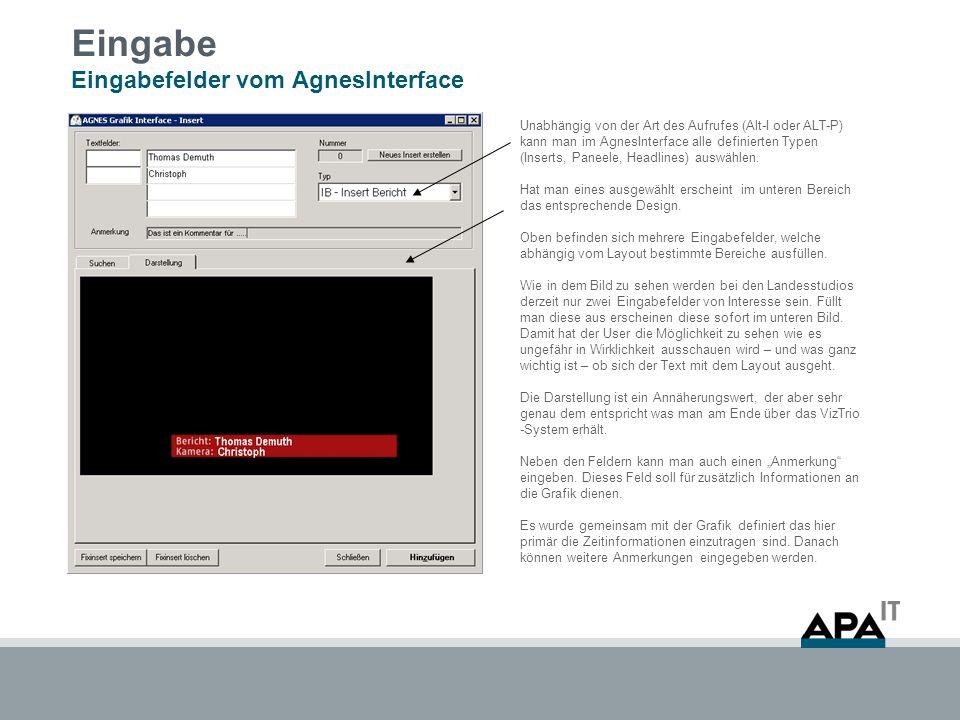 Eingabe Eingabefelder vom AgnesInterface Unabhängig von der Art des Aufrufes (Alt-I oder ALT-P) kann man im AgnesInterface alle definierten Typen (Inserts, Paneele, Headlines) auswählen.