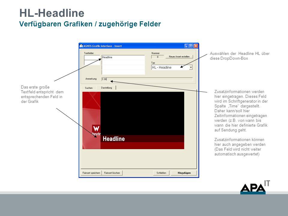 HL-Headline Verfügbaren Grafiken / zugehörige Felder Auswählen der Headline HL über diese DropDown-Box Das erste große Textfeld entspricht dem entsprechenden Feld in der Grafik Zusatzinformationen werden hier eingetragen.
