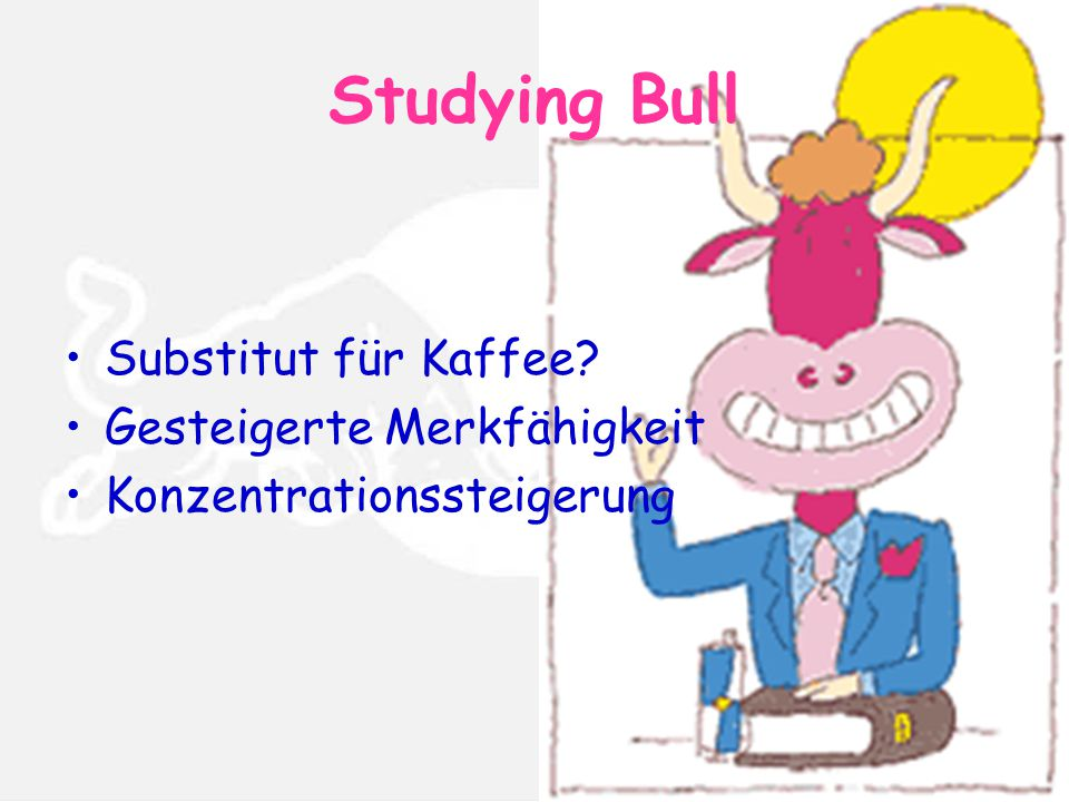 Studying Bull Substitut für Kaffee? Gesteigerte Merkfähigkeit Konzentrationssteigerung