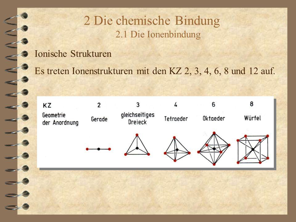 2 Die chemische Bindung 2.1 Die Ionenbindung Ionische Strukturen Es treten Ionenstrukturen mit den KZ 2, 3, 4, 6, 8 und 12 auf.