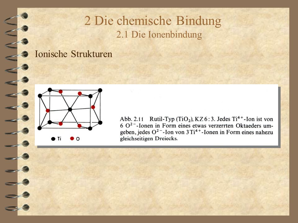 2 Die chemische Bindung 2.1 Die Ionenbindung Ionische Strukturen