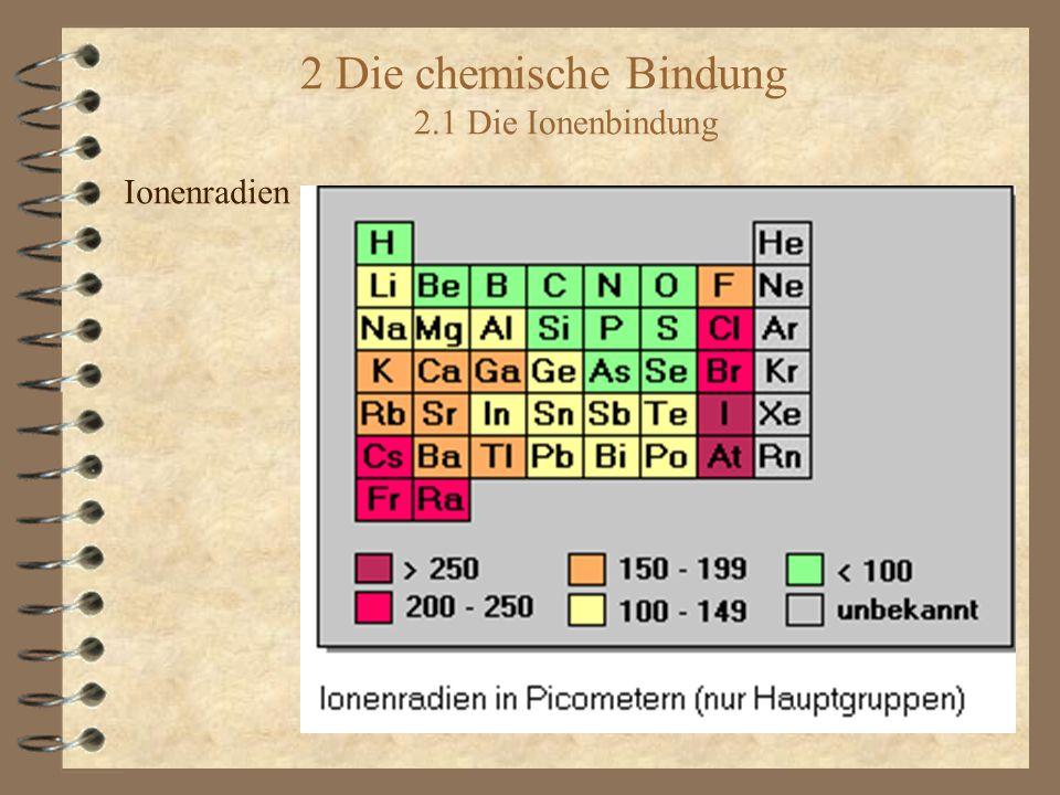2 Die chemische Bindung 2.1 Die Ionenbindung Ionenradien