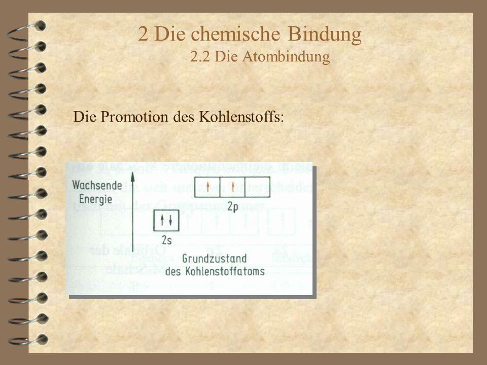 2 Die chemische Bindung 2.2 Die Atombindung Die Promotion des Kohlenstoffs: