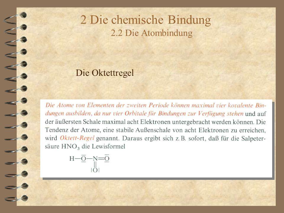 2 Die chemische Bindung 2.2 Die Atombindung Die Oktettregel