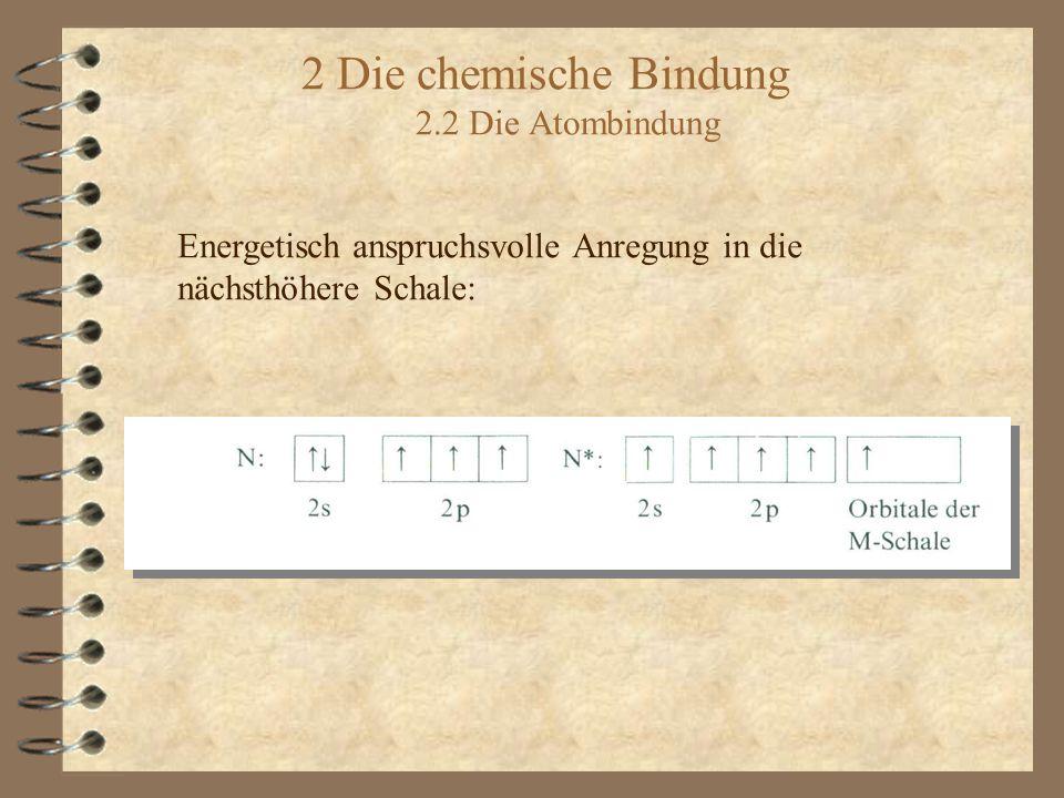 2 Die chemische Bindung 2.2 Die Atombindung Energetisch anspruchsvolle Anregung in die nächsthöhere Schale: