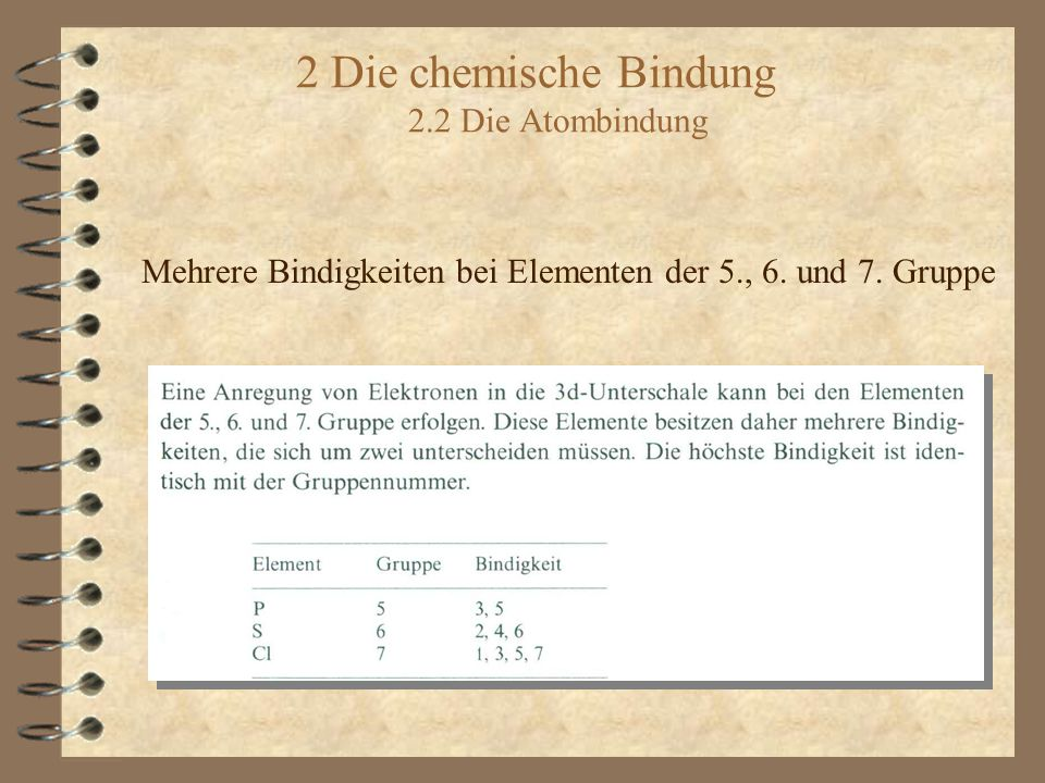 2 Die chemische Bindung 2.2 Die Atombindung Mehrere Bindigkeiten bei Elementen der 5., 6. und 7. Gruppe