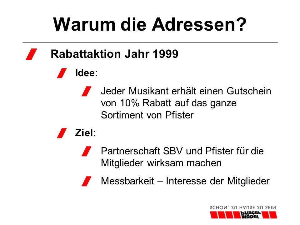 Warum die Adressen?  Rabattaktion Jahr 1999  Idee:  Jeder Musikant erhält einen Gutschein von 10% Rabatt auf das ganze Sortiment von Pfister  Ziel