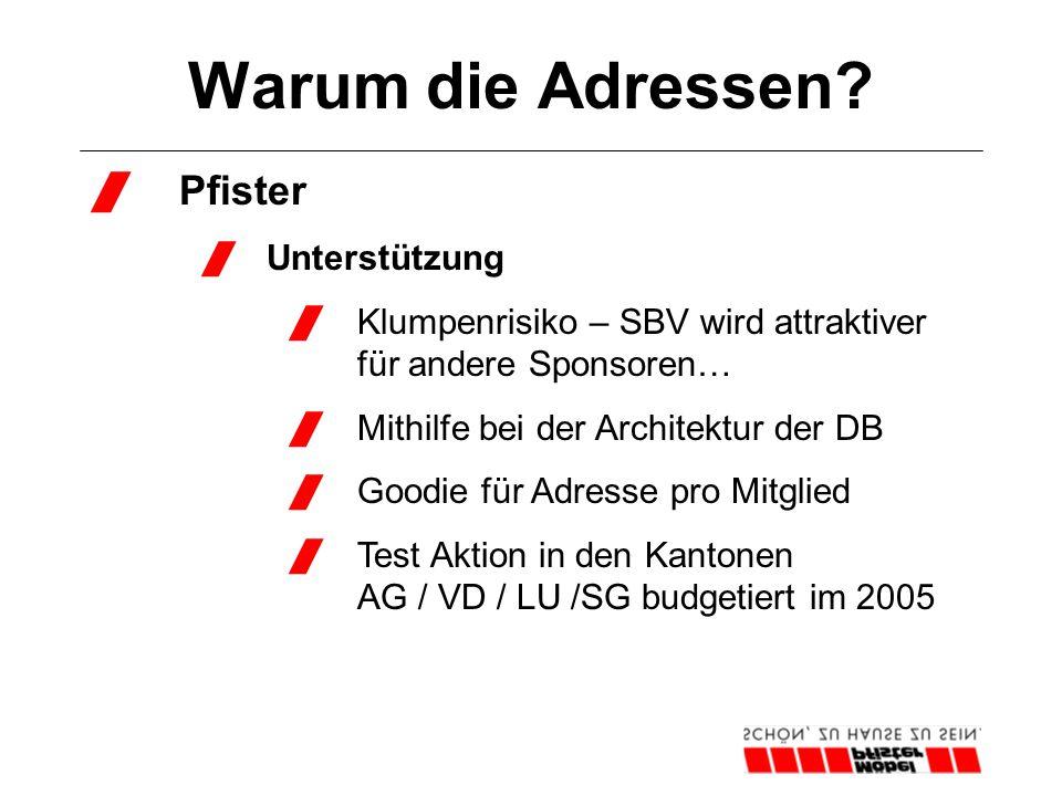 Warum die Adressen?  Pfister  Unterstützung  Klumpenrisiko – SBV wird attraktiver für andere Sponsoren…  Mithilfe bei der Architektur der DB  Goo