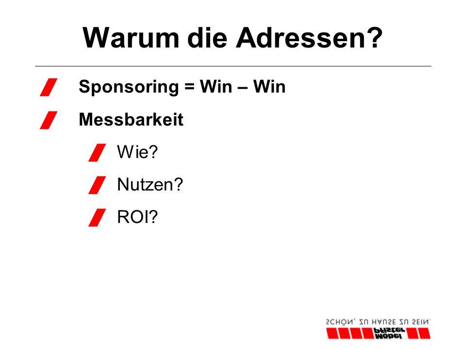 Warum die Adressen?  Sponsoring = Win – Win  Messbarkeit  Wie?  Nutzen?  ROI?