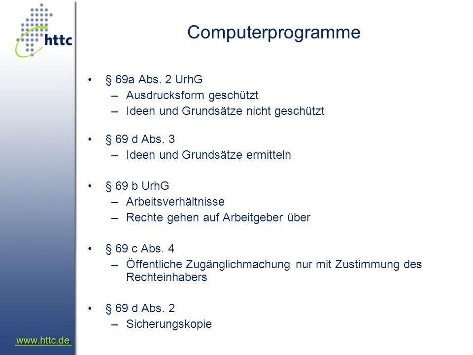 Computerprogramme § 69a Abs.