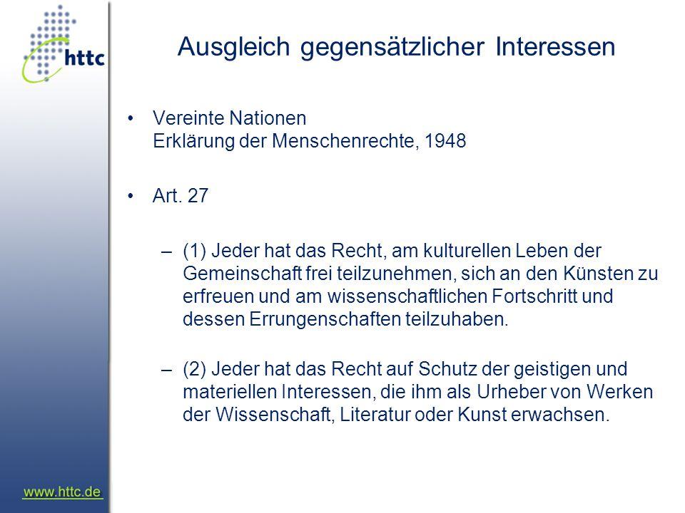 Umsetzung in Wirklichkeit Konkretisierung –Internationale Vereinbarungen Berner Konvention TRIPS WIPO Copyright Treaty (WCT) –EU Richtlinien Urheberrechts-Richtlinie –Deutschland Urheberrechtsgesetz