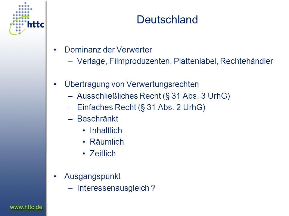 Deutschland Dominanz der Verwerter –Verlage, Filmproduzenten, Plattenlabel, Rechtehändler Übertragung von Verwertungsrechten –Ausschließliches Recht (§ 31 Abs.