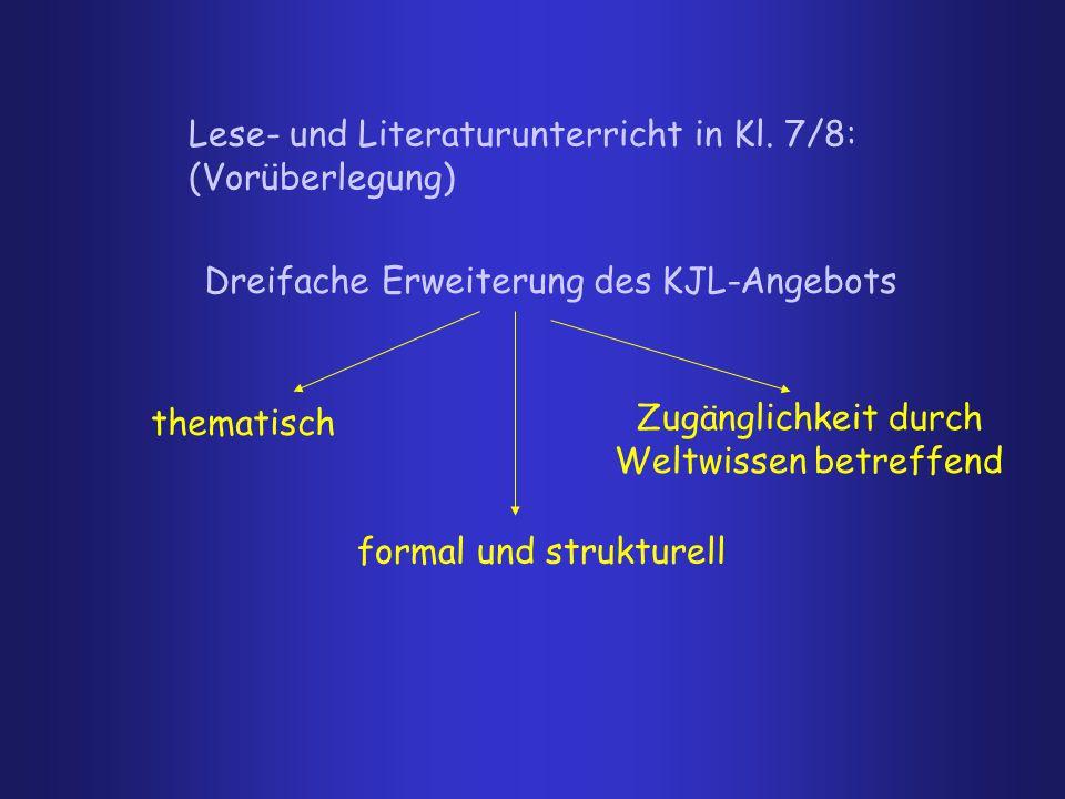 Lese- und Literaturunterricht in Kl. 7/8: (Vorüberlegung) Dreifache Erweiterung des KJL-Angebots thematisch formal und strukturell Zugänglichkeit durc