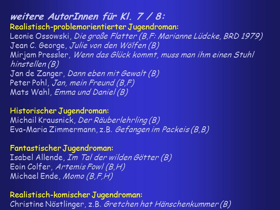 weitere AutorInnen für Kl. 7 / 8: Realistisch-problemorientierter Jugendroman: Leonie Ossowski, Die große Flatter (B,F: Marianne Lüdcke, BRD 1979) Jea