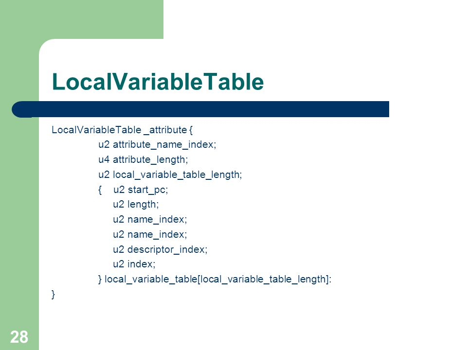 28 LocalVariableTable LocalVariableTable _attribute { u2 attribute_name_index; u4 attribute_length; u2 local_variable_table_length; { u2 start_pc; u2 length; u2 name_index; u2 descriptor_index; u2 index; } local_variable_table[local_variable_table_length]: }