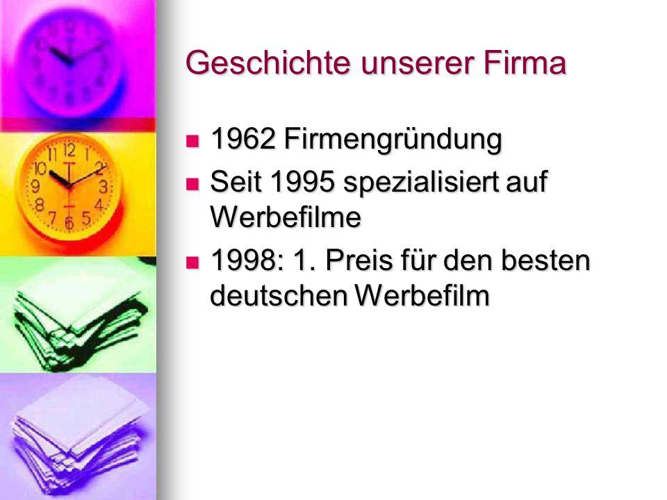Geschichte unserer Firma 1962 Firmengründung 1962 Firmengründung Seit 1995 spezialisiert auf Werbefilme Seit 1995 spezialisiert auf Werbefilme 1998: 1.