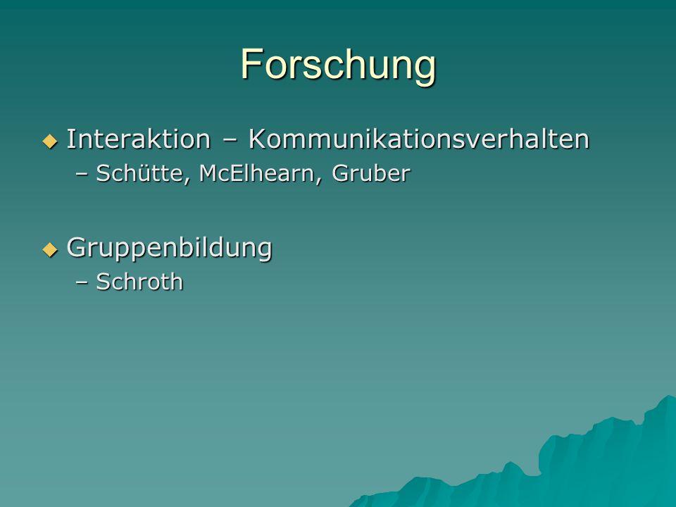 Forschung  Interaktion – Kommunikationsverhalten –Schütte, McElhearn, Gruber  Gruppenbildung –Schroth