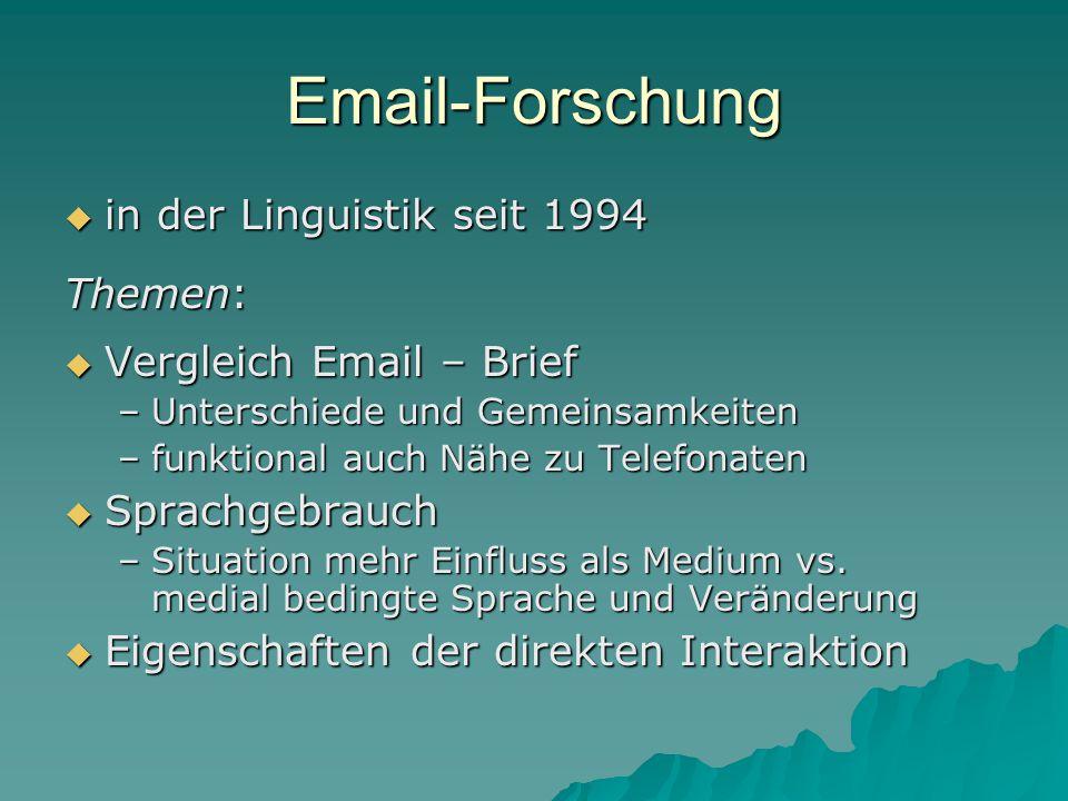 Email-Forschung  in der Linguistik seit 1994 Themen:  Vergleich Email – Brief –Unterschiede und Gemeinsamkeiten –funktional auch Nähe zu Telefonaten  Sprachgebrauch –Situation mehr Einfluss als Medium vs.