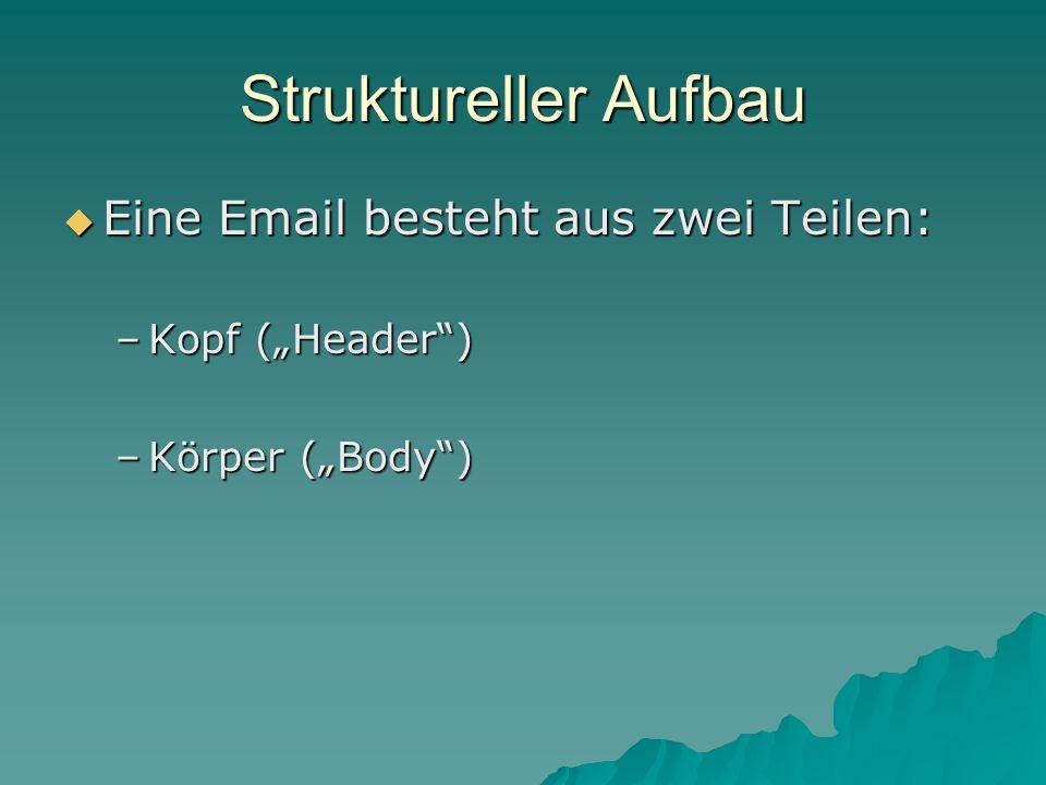 """Struktureller Aufbau  Eine Email besteht aus zwei Teilen: –Kopf (""""Header ) –Körper (""""Body )"""