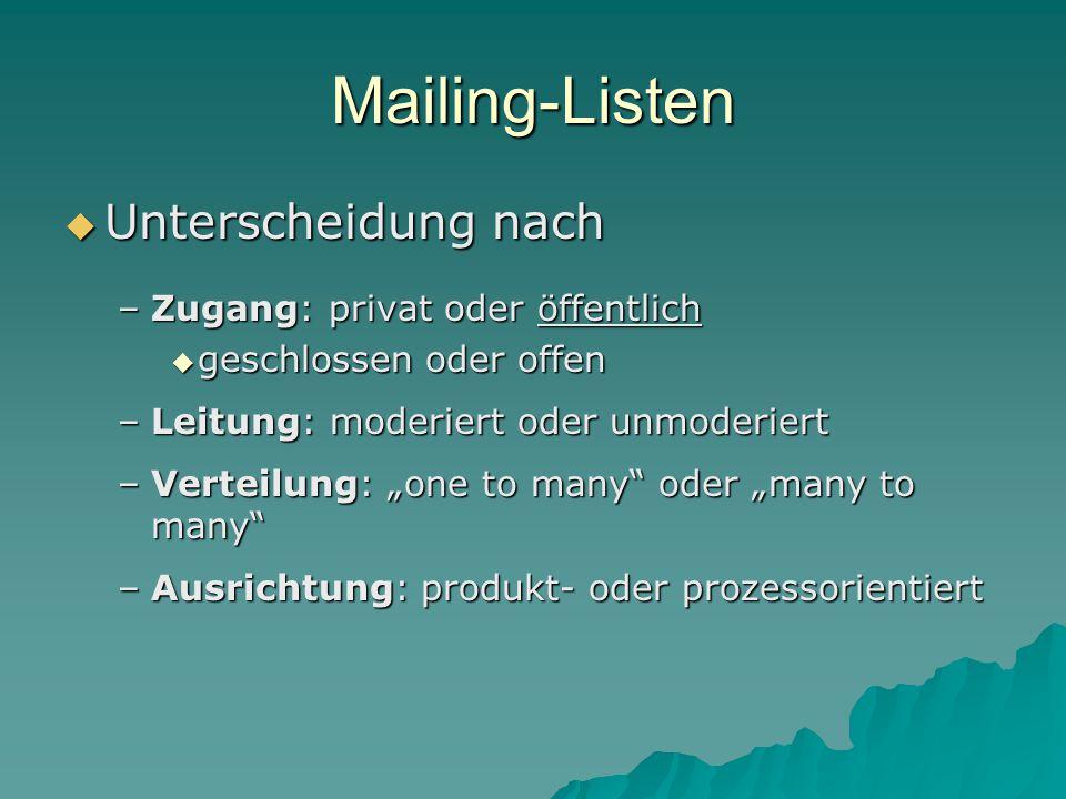 """Mailing-Listen  Unterscheidung nach –Zugang: privat oder öffentlich  geschlossen oder offen –Leitung: moderiert oder unmoderiert –Verteilung: """"one to many oder """"many to many –Ausrichtung: produkt- oder prozessorientiert"""