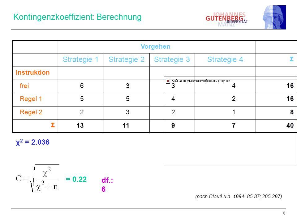 9 Kontingenzkoeffizient: Signifikanzprüfung Voraussetzung: Erwartete absolute Häufigkeiten in der Indifferenztabelle > 5 Hypothesen: H 0 : ρ xy = 0 H 1 : ρ xy ≠ 0 Signifikanzniveau festlegen: α = 0.01 Prüfgröße: χ 2 = 2.036 Kritischer Wert χ 2 (α=0.01; df=6) = 16.8 2.036 < 16.8; → nicht signifikant Kritischer (Chi-Quadrat-) Wert