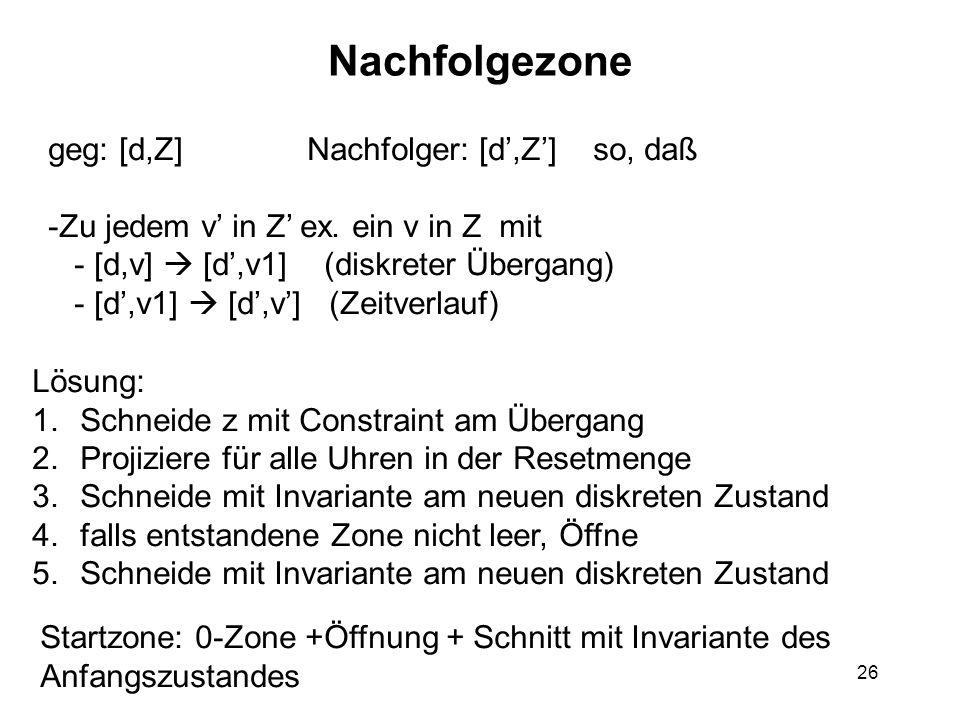 26 Nachfolgezone geg: [d,Z] Nachfolger: [d',Z'] so, daß -Zu jedem v' in Z' ex.