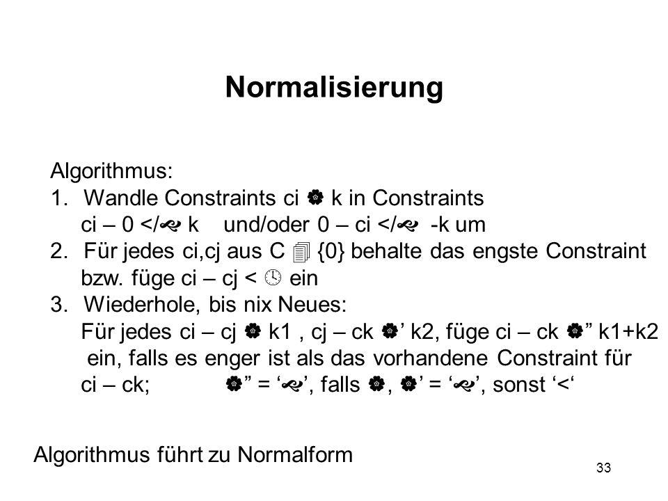 33 Normalisierung Algorithmus: 1.Wandle Constraints ci  k in Constraints ci – 0 </  k und/oder 0 – ci </  -k um 2.Für jedes ci,cj aus C  {0} behalte das engste Constraint bzw.
