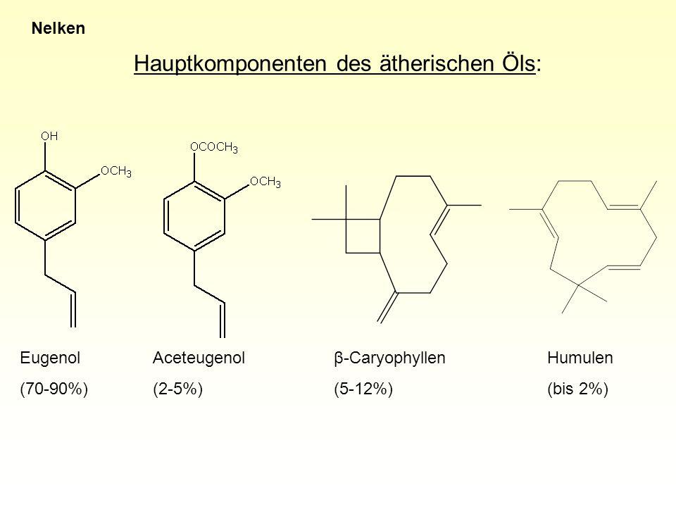 Hauptkomponenten des ätherischen Öls: Nelken Eugenol (70-90%) β-Caryophyllen (5-12%) Humulen (bis 2%) Aceteugenol (2-5%)