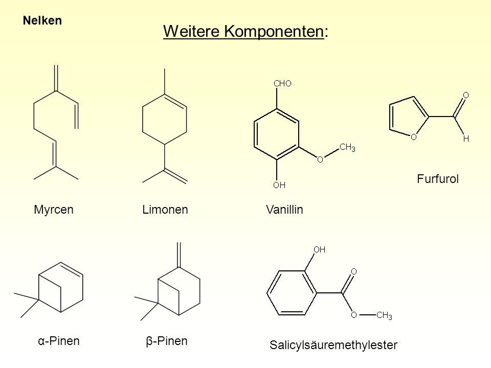 Weitere Komponenten: VanillinMyrcenLimonen α-Pinenβ-Pinen Furfurol Salicylsäuremethylester Nelken