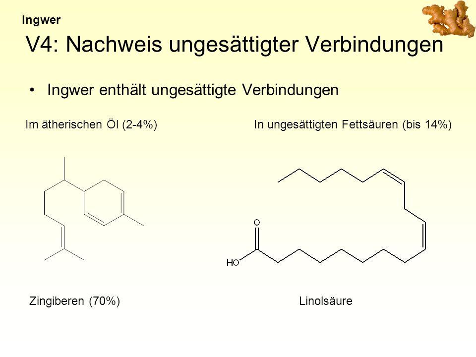 V4: Nachweis ungesättigter Verbindungen Ingwer enthält ungesättigte Verbindungen Ingwer Zingiberen (70%) Im ätherischen Öl (2-4%)In ungesättigten Fettsäuren (bis 14%) Linolsäure