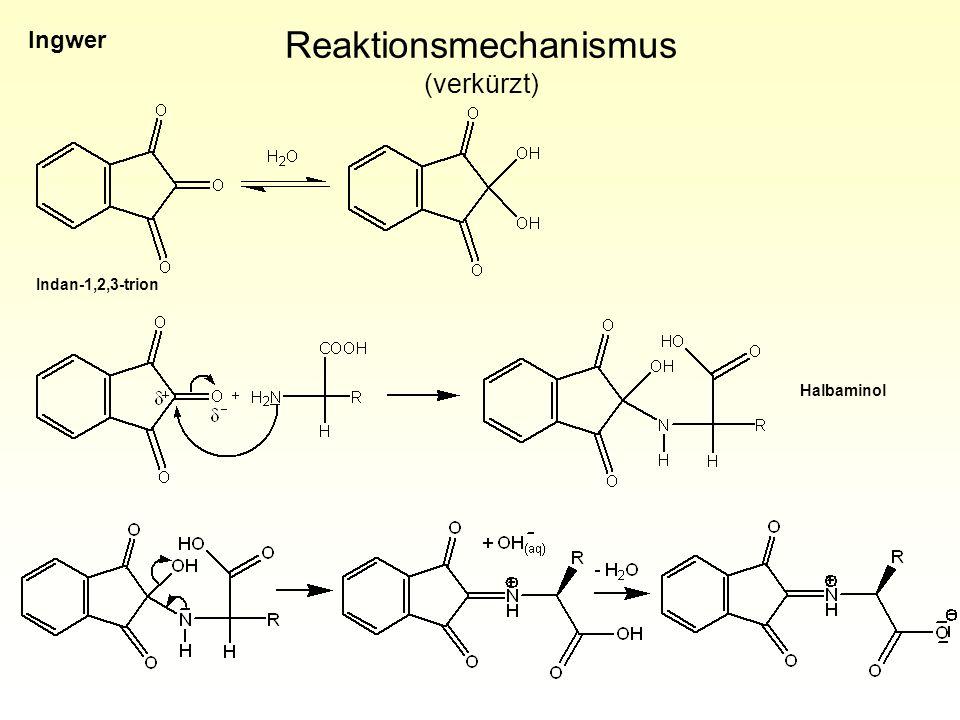 Reaktionsmechanismus (verkürzt) Indan-1,2,3-trion Halbaminol Ingwer