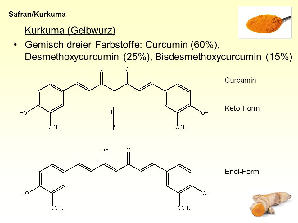 Kurkuma (Gelbwurz) Gemisch dreier Farbstoffe: Curcumin (60%), Desmethoxycurcumin (25%), Bisdesmethoxycurcumin (15%) Safran/Kurkuma Curcumin Enol-Form Keto-Form