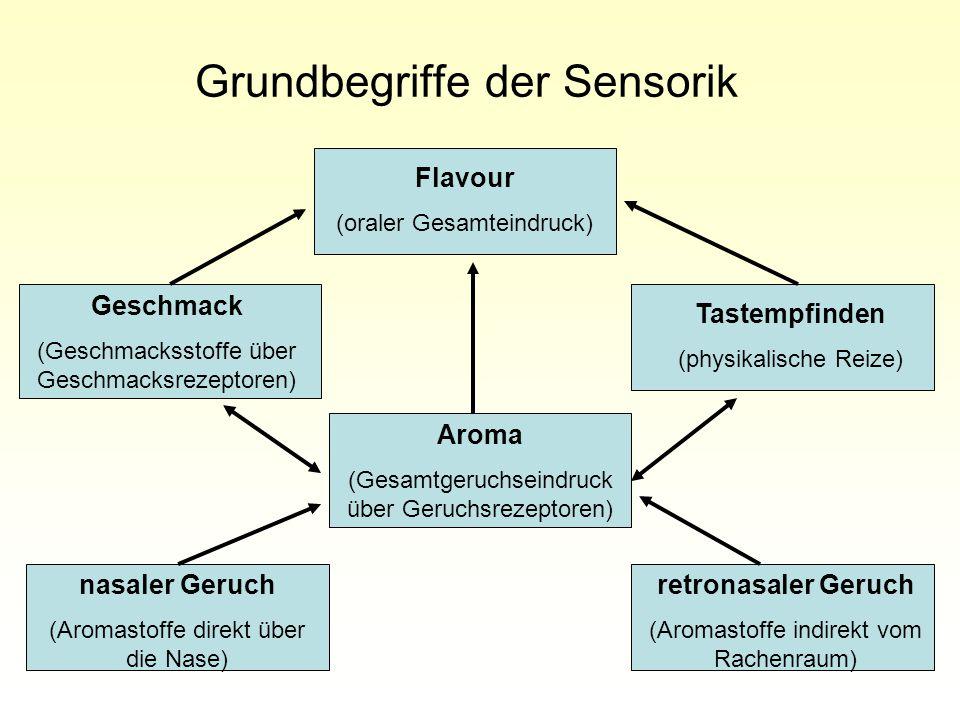 Grundbegriffe der Sensorik Flavour (oraler Gesamteindruck) Geschmack (Geschmacksstoffe über Geschmacksrezeptoren) Tastempfinden (physikalische Reize) Aroma (Gesamtgeruchseindruck über Geruchsrezeptoren) nasaler Geruch (Aromastoffe direkt über die Nase) retronasaler Geruch (Aromastoffe indirekt vom Rachenraum)