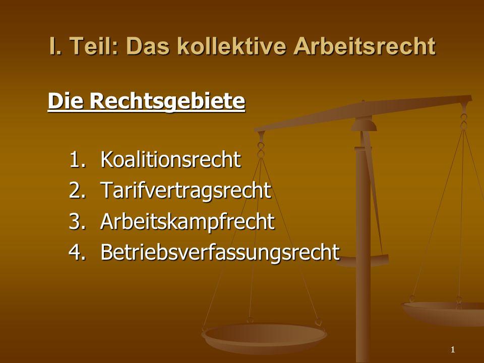 1 I. Teil: Das kollektive Arbeitsrecht Die Rechtsgebiete 1. Koalitionsrecht 2. Tarifvertragsrecht 3. Arbeitskampfrecht 4. Betriebsverfassungsrecht