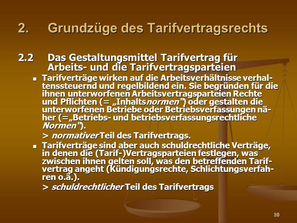 10 2.Grundzüge des Tarifvertragsrechts 2.2Das Gestaltungsmittel Tarifvertrag für Arbeits- und die Tarifvertragsparteien Tarifverträge wirken auf die A