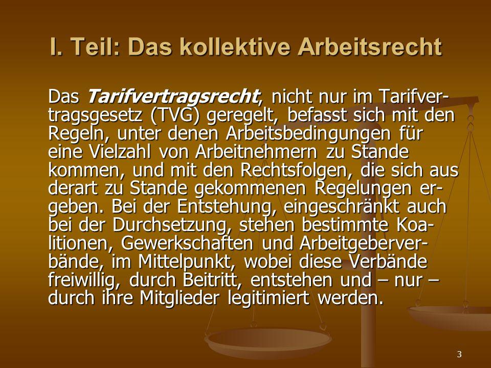 3 I. Teil: Das kollektive Arbeitsrecht Das Tarifvertragsrecht, nicht nur im Tarifver- tragsgesetz (TVG) geregelt, befasst sich mit den Regeln, unter d