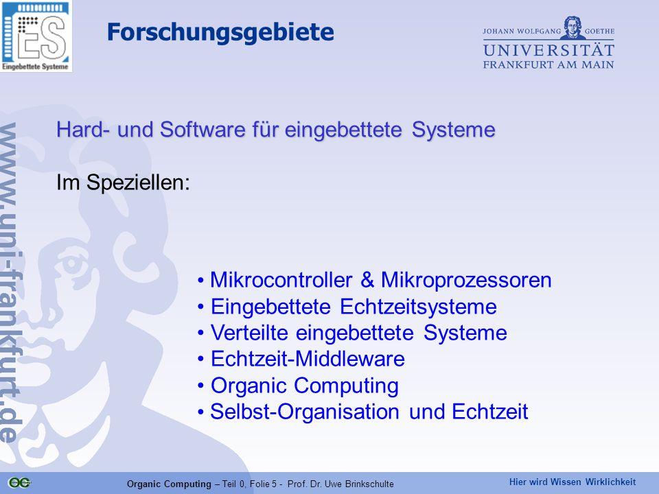 Hier wird Wissen Wirklichkeit Organic Computing – Teil 0, Folie 5 - Prof. Dr. Uwe Brinkschulte Forschungsgebiete Hard- und Software für eingebettete S