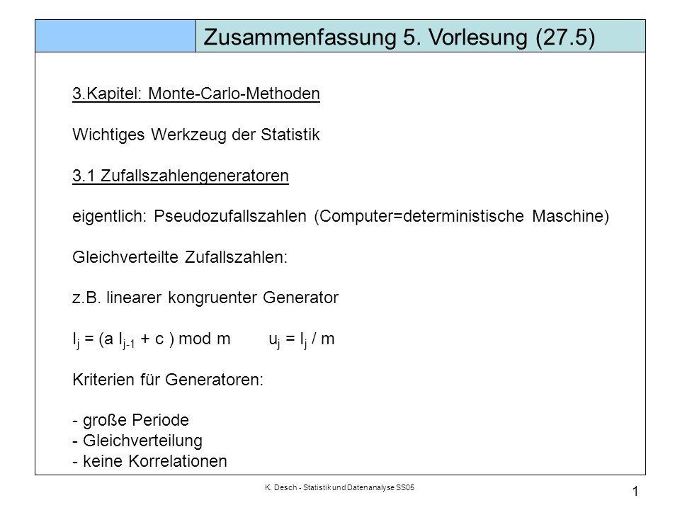 K. Desch - Statistik und Datenanalyse SS05 1 Zusammenfassung 5. Vorlesung (27.5) 3.Kapitel: Monte-Carlo-Methoden Wichtiges Werkzeug der Statistik 3.1
