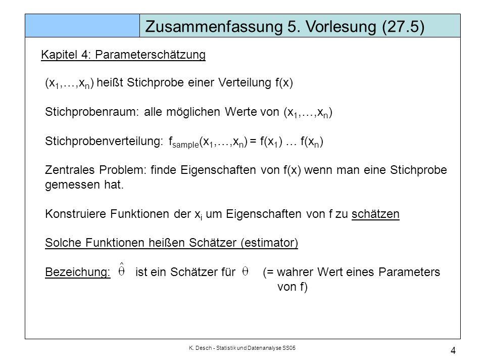 K. Desch - Statistik und Datenanalyse SS05 4 Zusammenfassung 5. Vorlesung (27.5) Kapitel 4: Parameterschätzung (x 1,…,x n ) heißt Stichprobe einer Ver