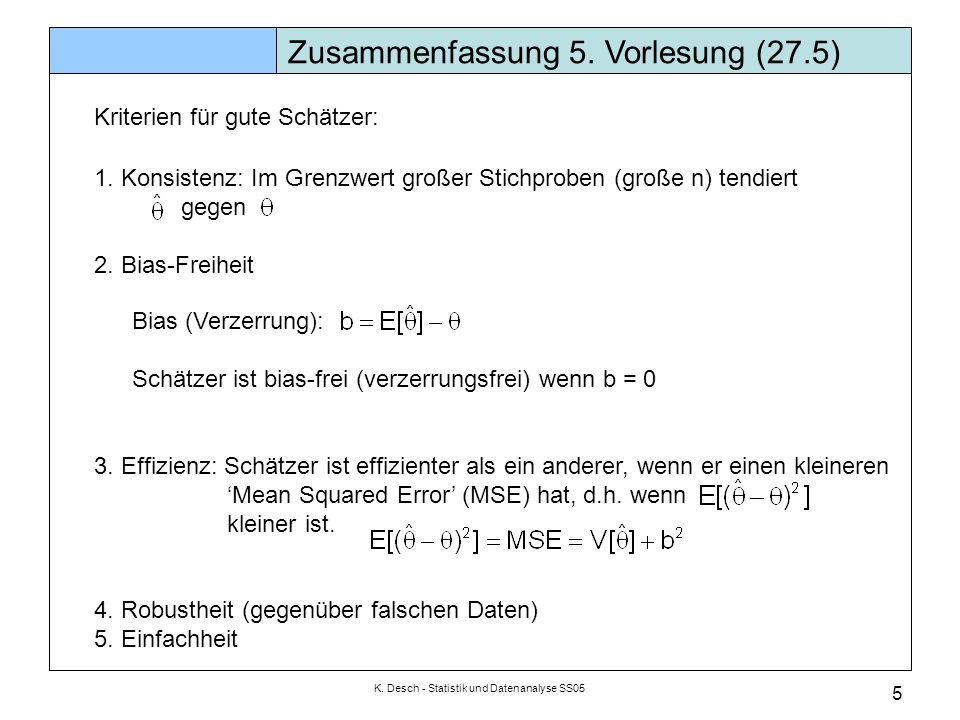 K. Desch - Statistik und Datenanalyse SS05 5 Zusammenfassung 5. Vorlesung (27.5) Kriterien für gute Schätzer: 1. Konsistenz: Im Grenzwert großer Stich