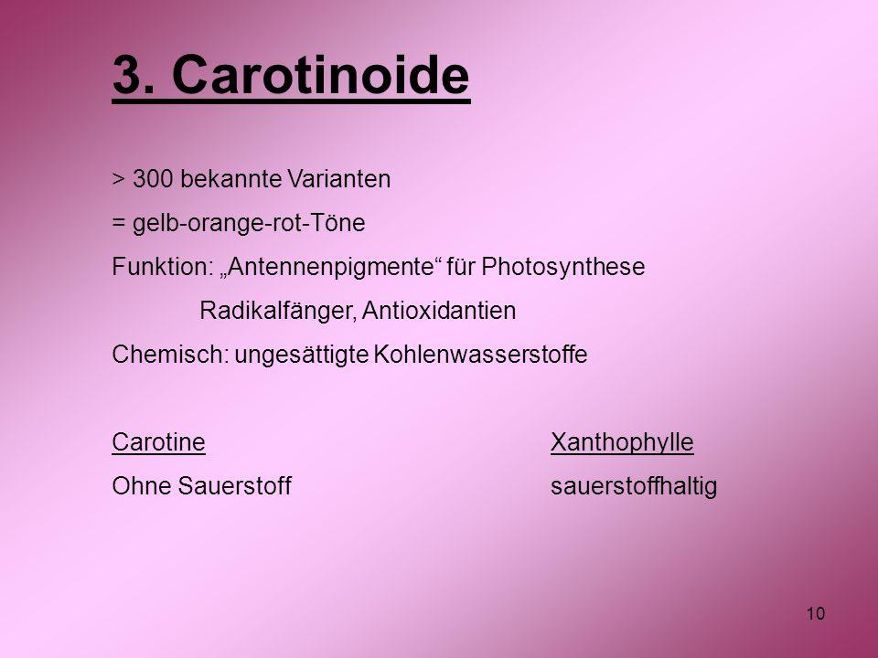 "10 3. Carotinoide > 300 bekannte Varianten = gelb-orange-rot-Töne Funktion: ""Antennenpigmente"" für Photosynthese Radikalfänger, Antioxidantien Chemisc"