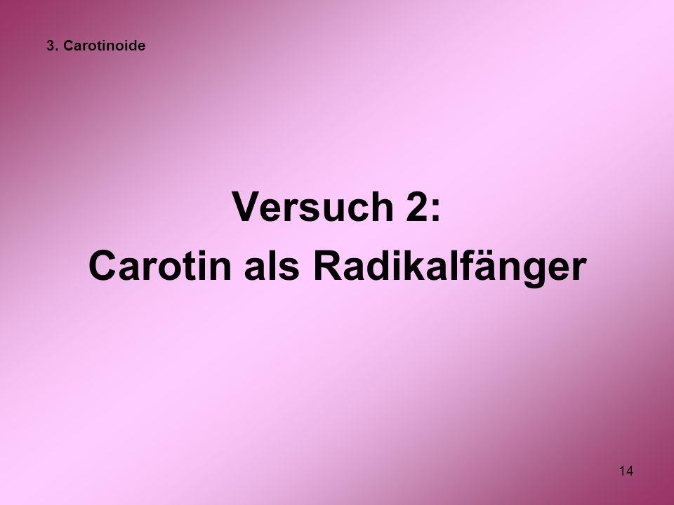 14 Versuch 2: Carotin als Radikalfänger 3. Carotinoide