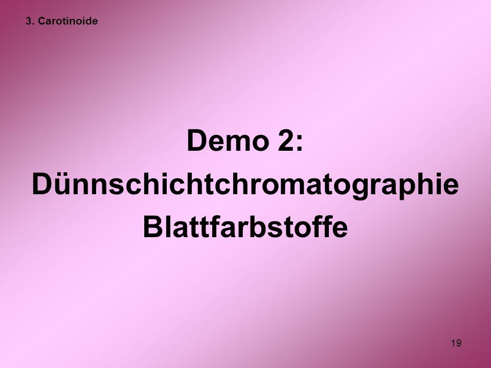 19 Demo 2: Dünnschichtchromatographie Blattfarbstoffe 3. Carotinoide