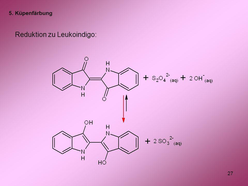 27 Reduktion zu Leukoindigo: 5. Küpenfärbung