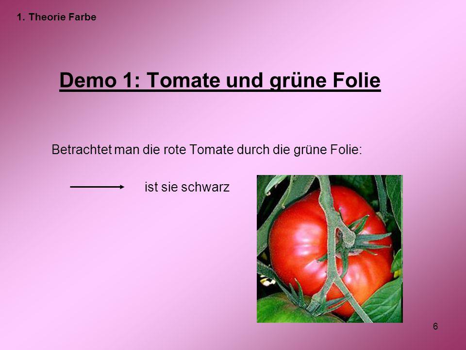 6 Demo 1: Tomate und grüne Folie Betrachtet man die rote Tomate durch die grüne Folie: ist sie schwarz 1. Theorie Farbe