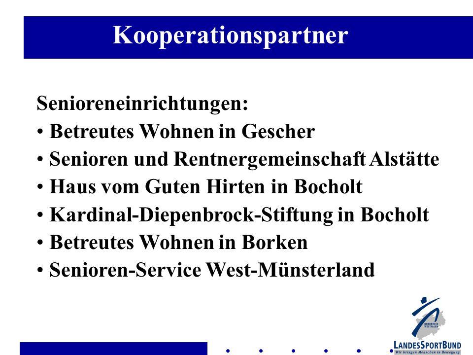 Senioreneinrichtungen: Betreutes Wohnen in Gescher Senioren und Rentnergemeinschaft Alstätte Haus vom Guten Hirten in Bocholt Kardinal-Diepenbrock-Stiftung in Bocholt Betreutes Wohnen in Borken Senioren-Service West-Münsterland Kooperationspartner