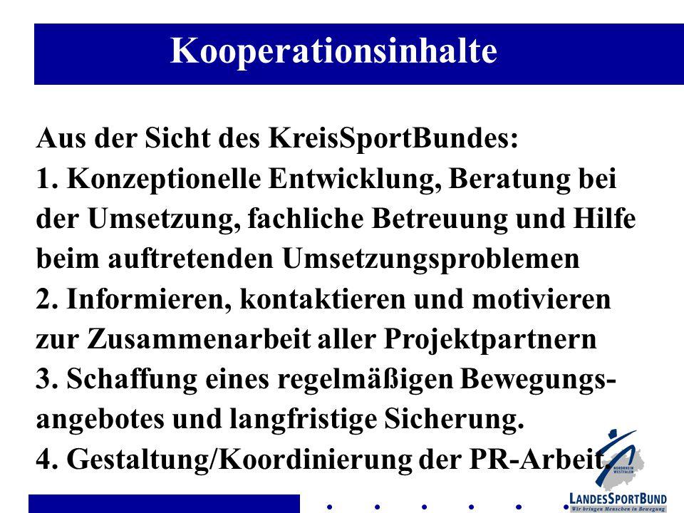 Kooperationsinhalte Aus der Sicht des KreisSportBundes: 1.