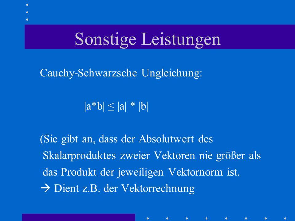 Sonstige Leistungen Cauchy-Schwarzsche Ungleichung: |a*b| ≤ |a| * |b| (Sie gibt an, dass der Absolutwert des Skalarproduktes zweier Vektoren nie größer als das Produkt der jeweiligen Vektornorm ist.